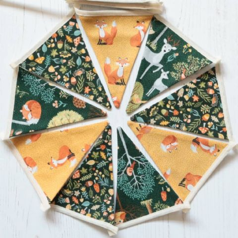 Magical Woodland Mini Cotton Bunting (Price inc P&P)